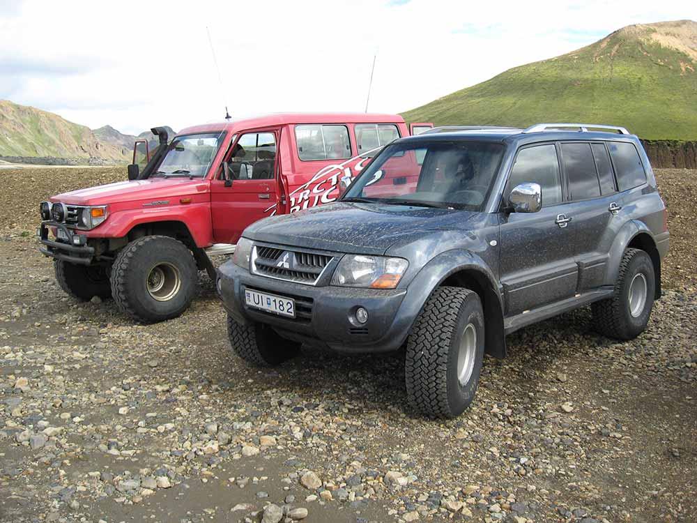 Our jeeps in Landmannalaugar